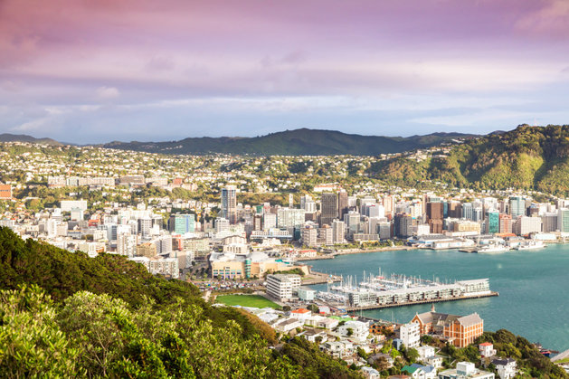 Wellington city center and harbour at sunrise