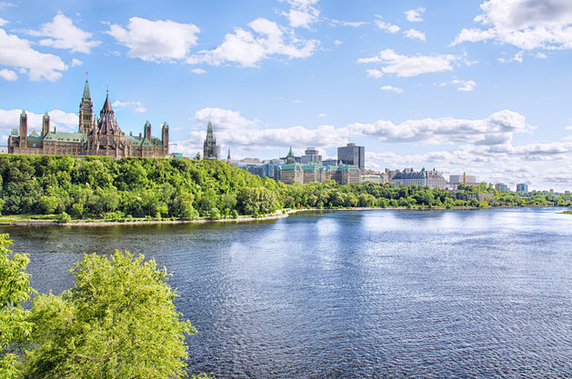 Ottawa River in front and parliament of Ottawa in background. HDR effect.