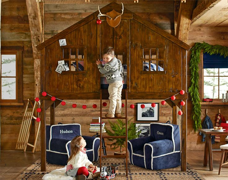 Jungle Thema Slaapkamer : Tree House Bunk Beds for Boys